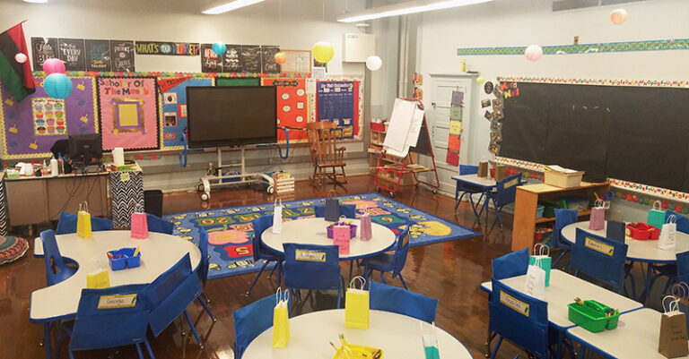 Classroom with six tables, a large area rug, a flatscreen tv in front of the wall, and colorful bulletin boards.