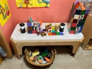 Small table with blocks on it